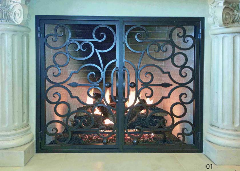 Hand forged Wrought iron fireplace doors FD001 from Mantel Depot in San Diego.