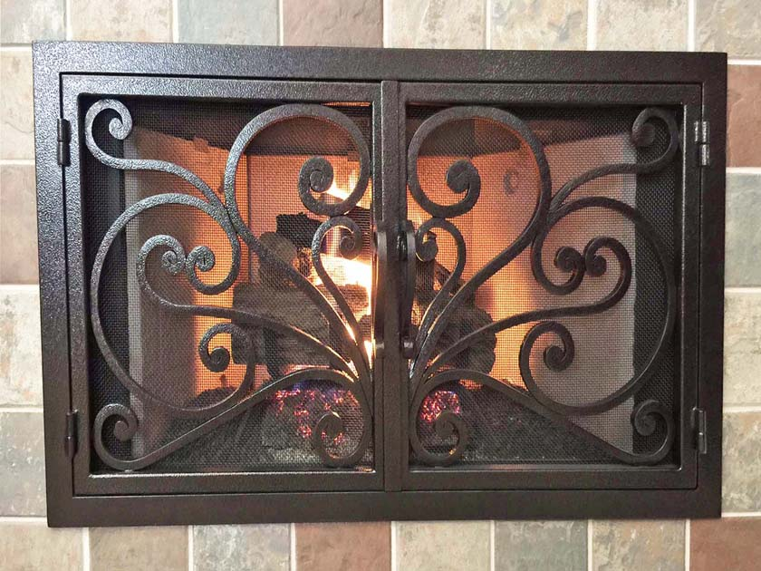 hand forged iron fireplace doors fd003 from mantel depot in san diego
