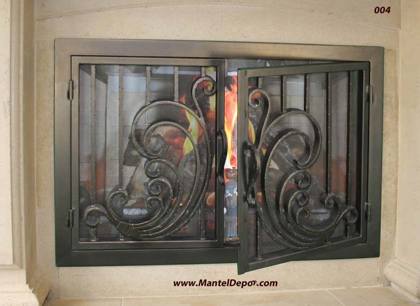 Hand Forged Iron Fireplace Doors Fd004 From Mantel Depot In San Diego