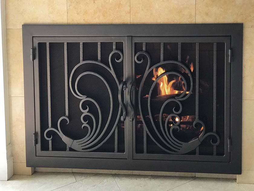 Hand Forged wrought iron Fireplace Door FD004