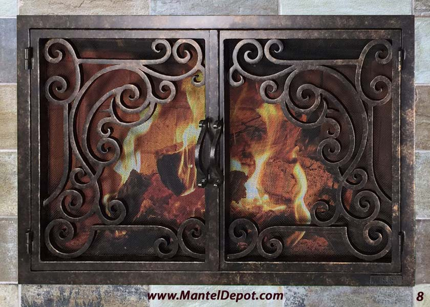 hand forged iron fireplace doors fd008 from mantel depot in san diego