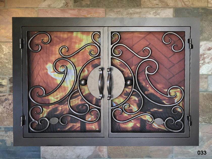 Hand Forged Iron Fireplace Doors Fd033 From Mantel Depot In San Diego