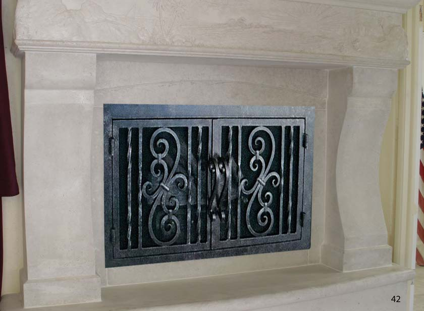 Hand forged Wrought iron fireplace doors FD042 from Mantel Depot in San Diego.