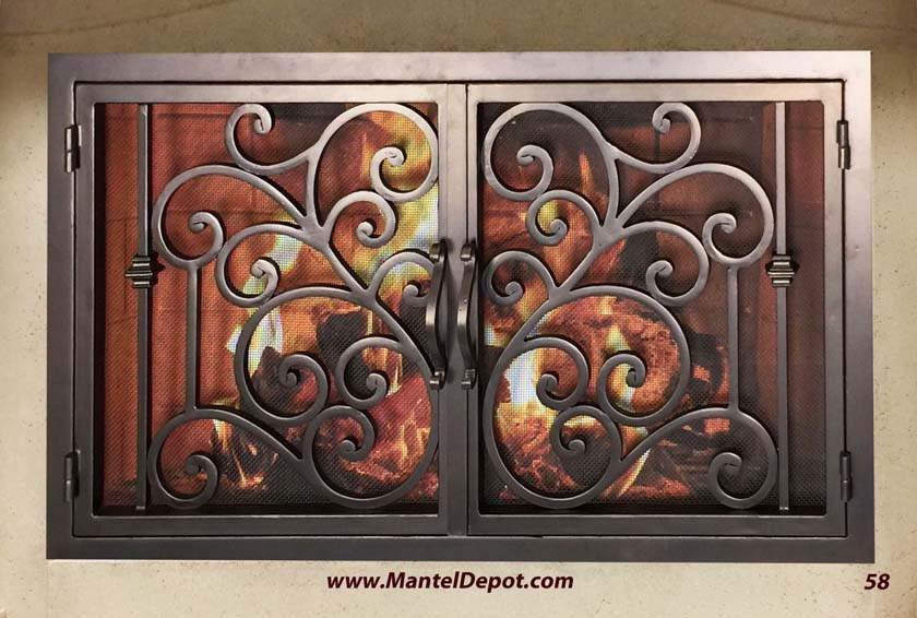 Hand forged wrought iron Fireplace Door FD058