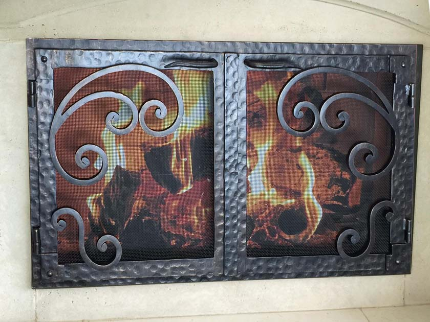 Hand Forged Iron Fireplace Doors Fd074 From Mantel Depot