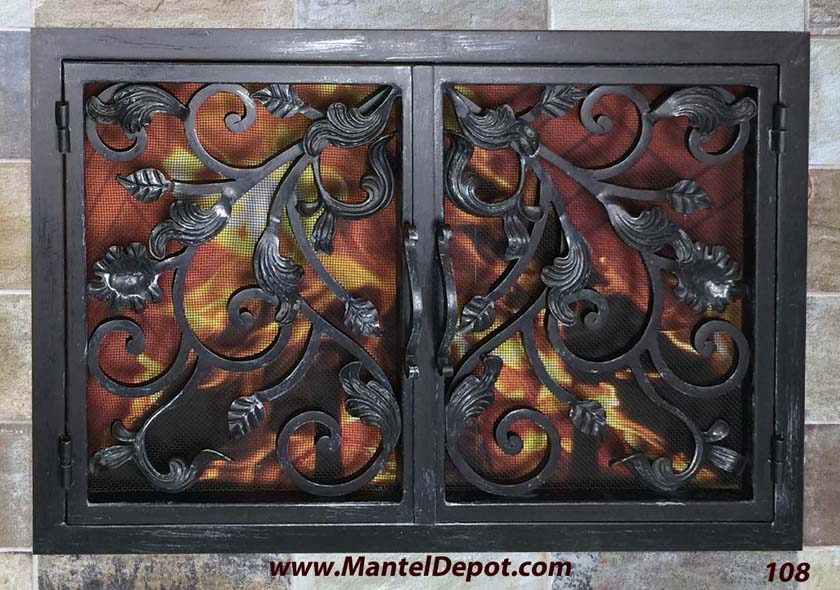 Hand forged iron fireplace doors fd0108 from mantel depot in san diego teraionfo