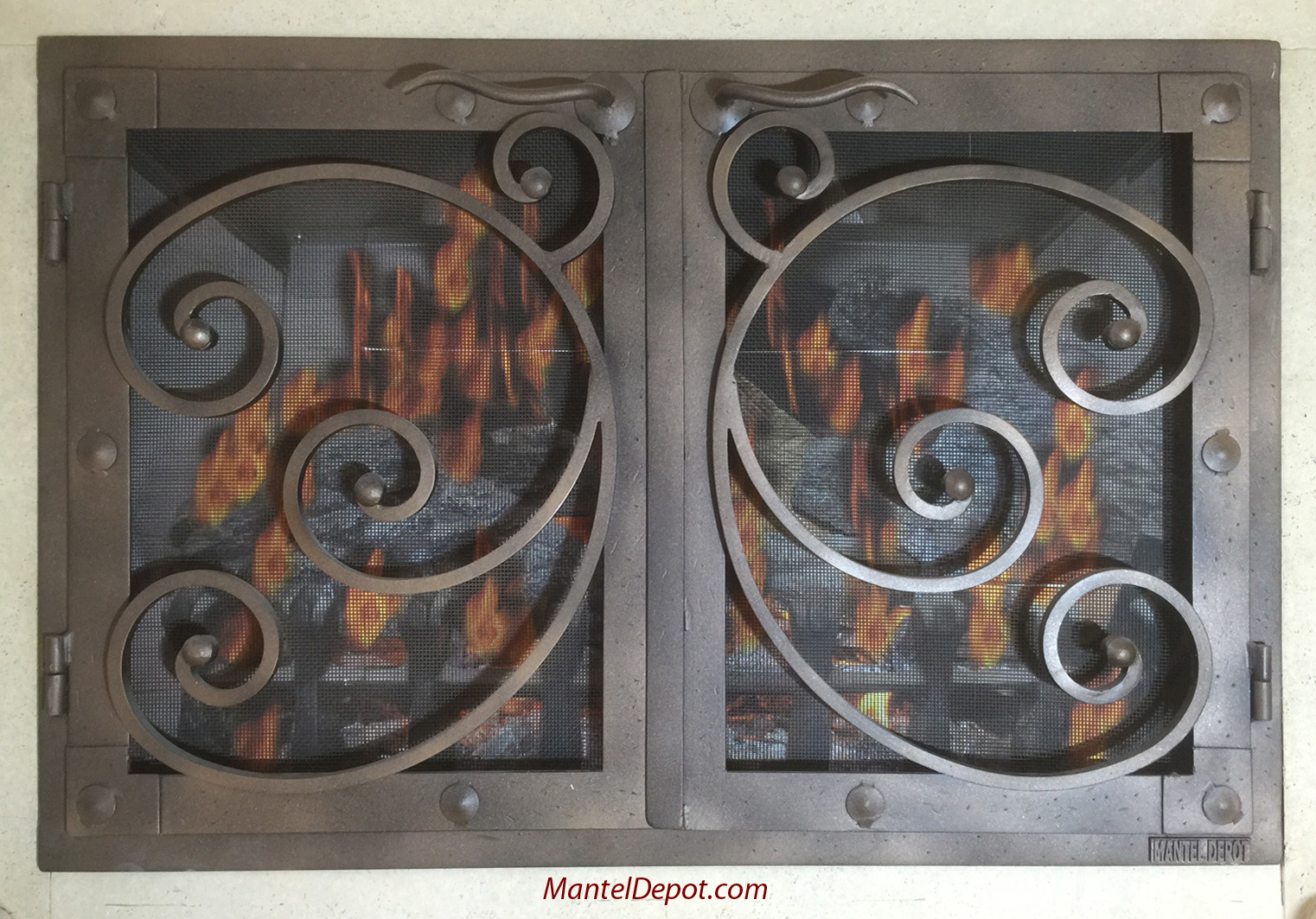 hand forged iron fireplace doors fd018 from mantel depot in san diego
