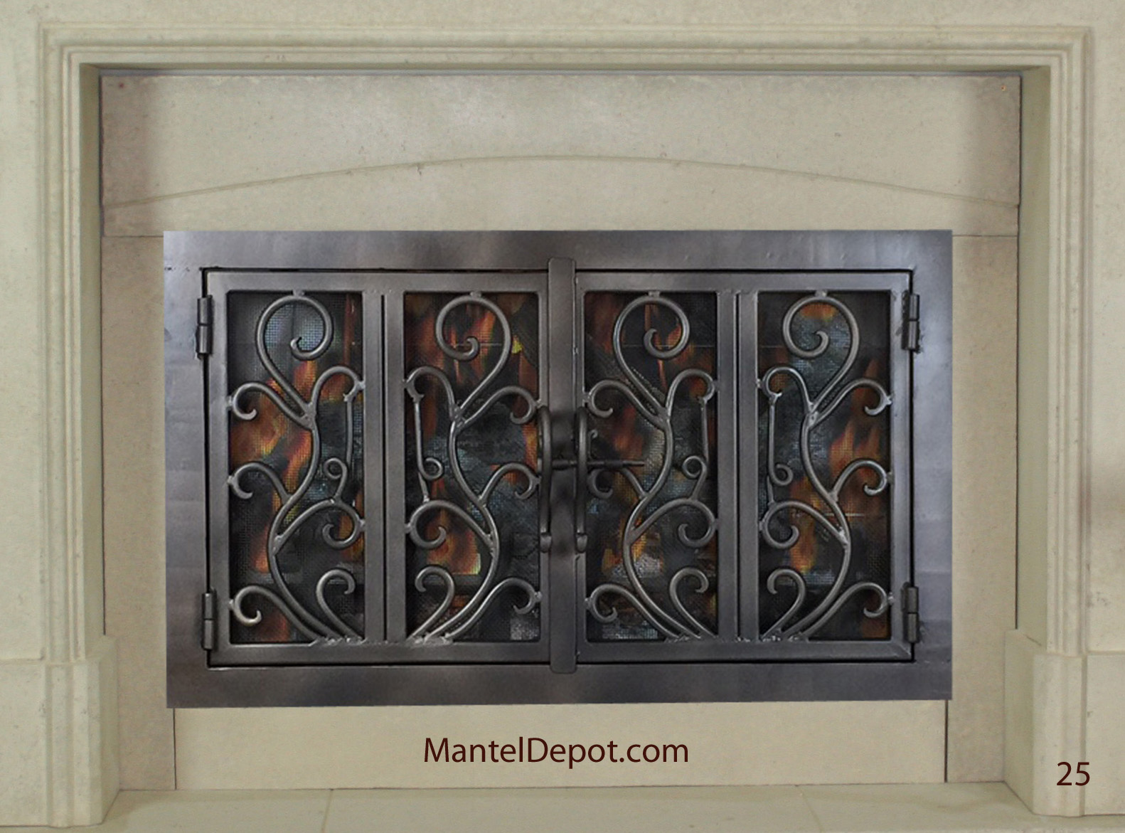 Hand forged Wrought iron fireplace doors FD025 from Mantel Depot in San Diego.