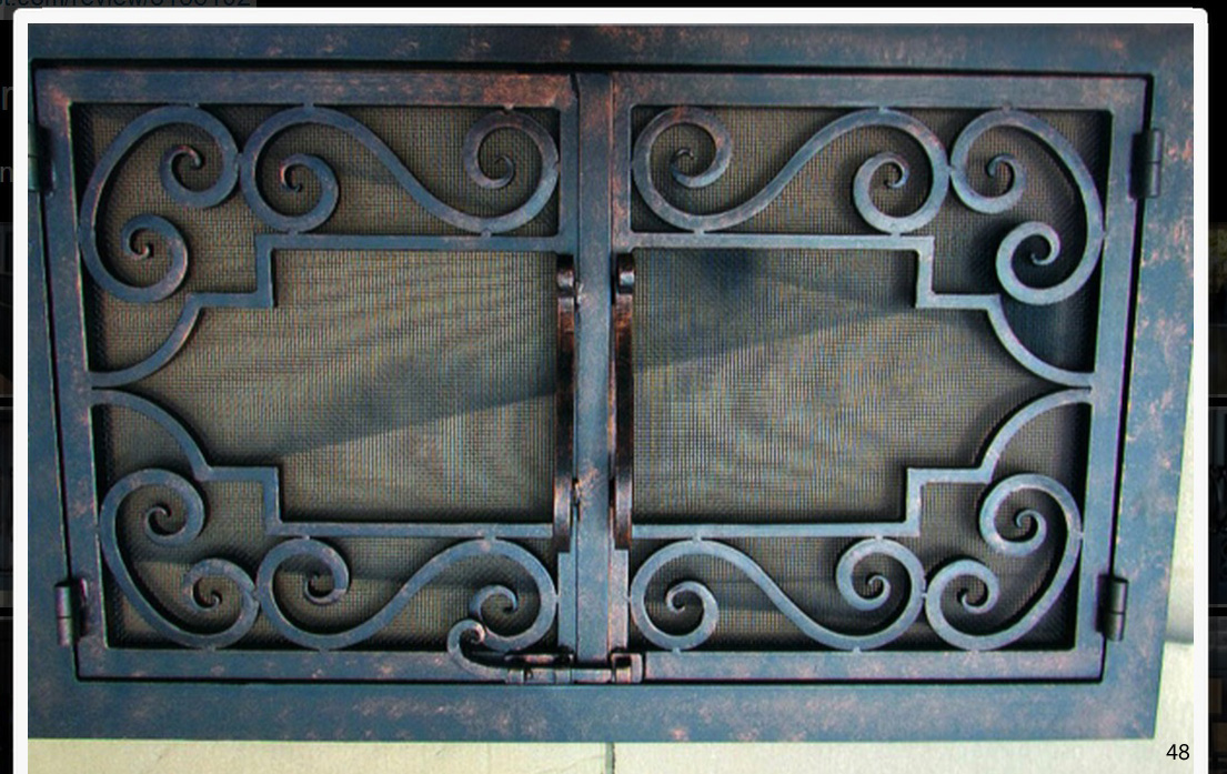 Hand forged Wrought iron fireplace doors FD048 from Mantel Depot in San Diego.