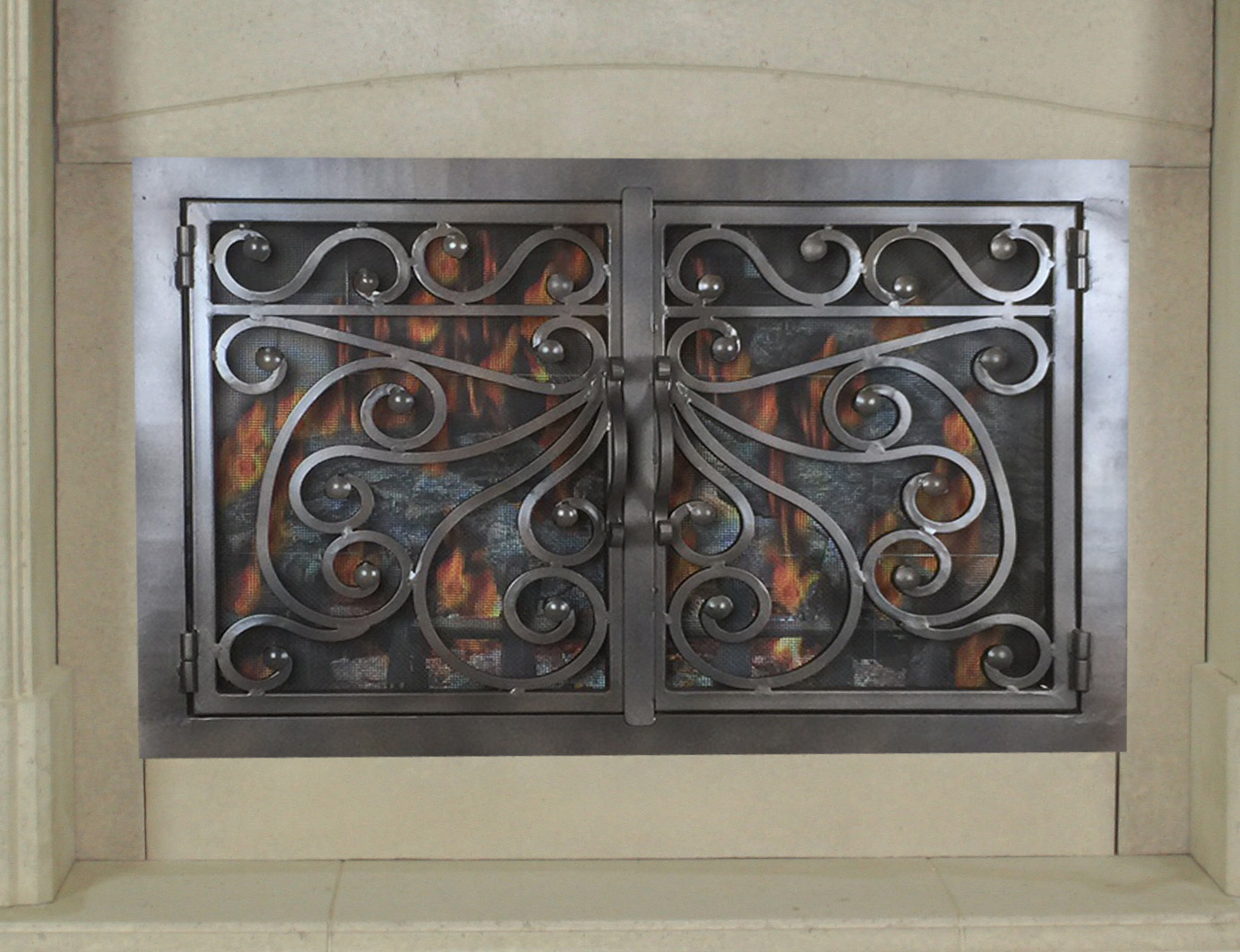 hand forged iron fireplace doors fd060 from mantel depot in san diego