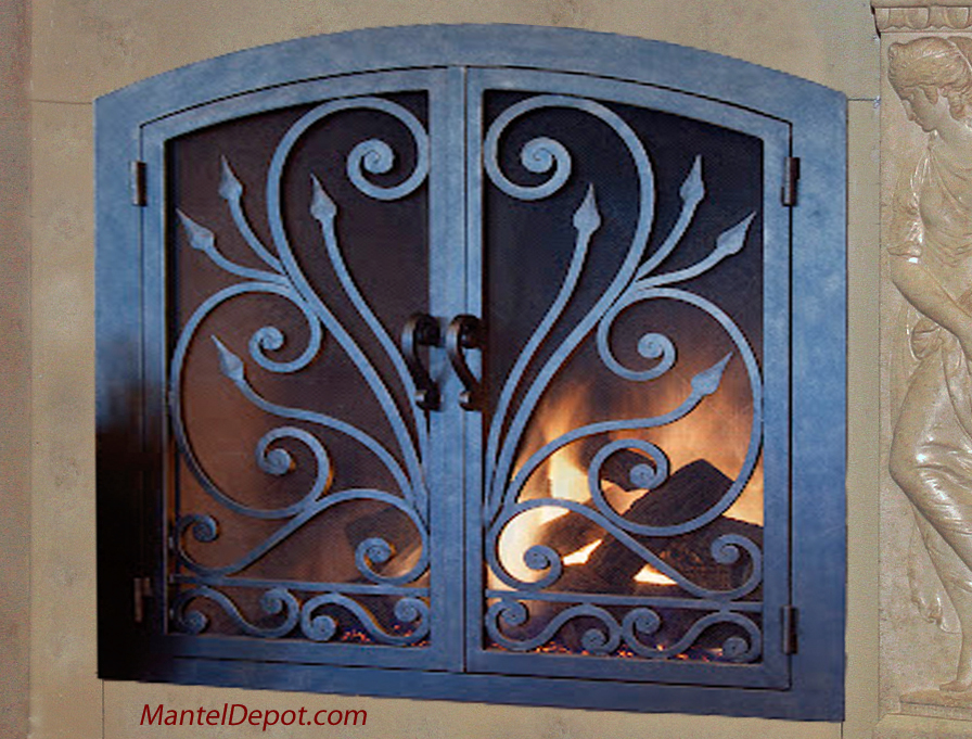 hand forged iron fireplace doors fd070 from mantel depot in san diego