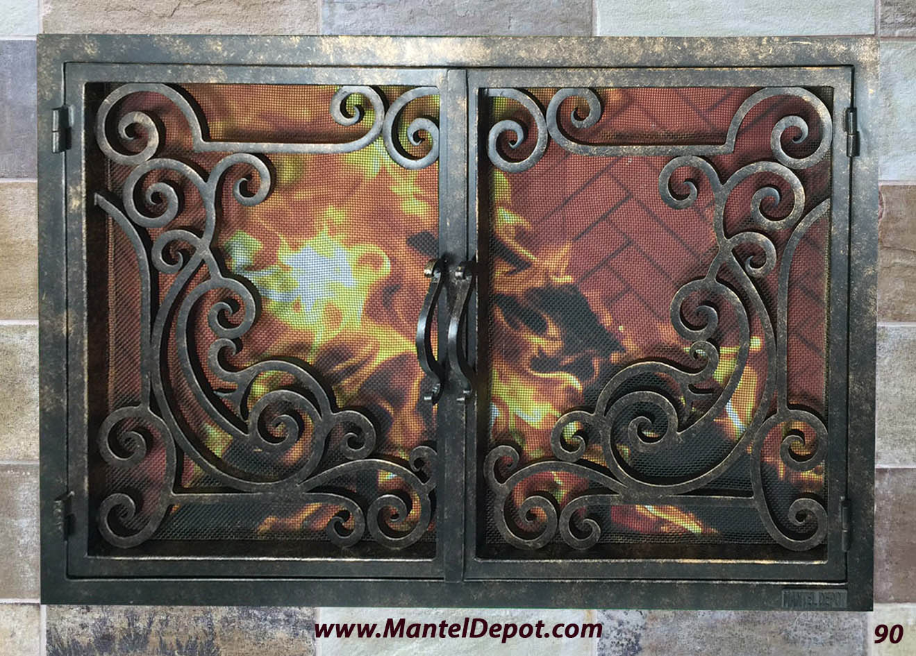 Hand Forged Iron Fireplace Doors Fd090 From Mantel Depot In San Diego