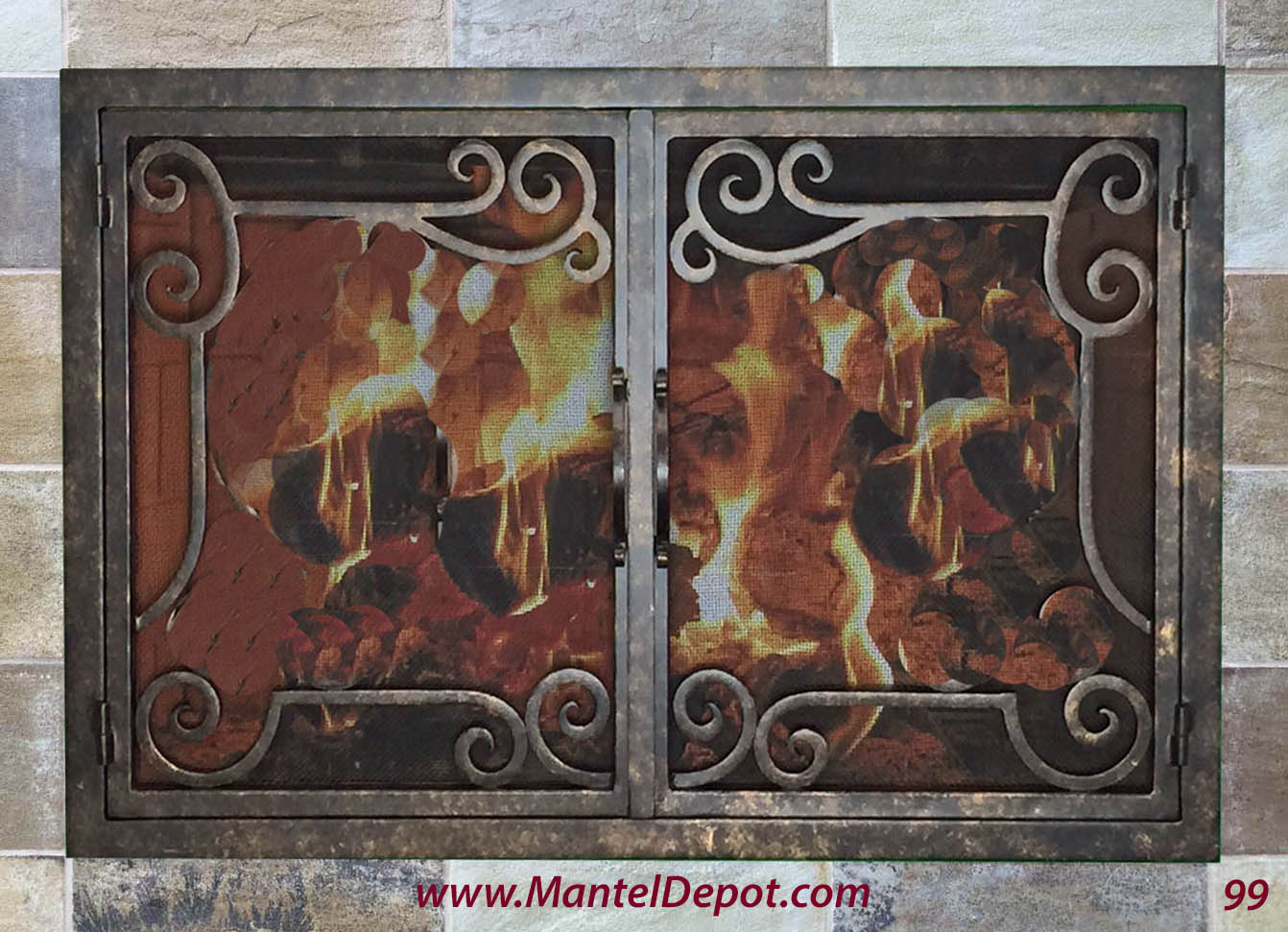 Hand Forged Iron Fireplace Doors Fd099 From Mantel Depot In San Diego