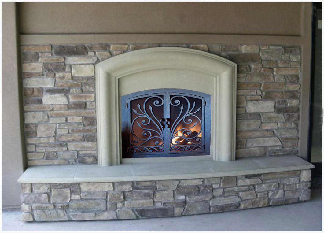Mantel Depot Model Mt44414 Fireplace Surrounds Iron Fireplace Doors And Screens In San Diego