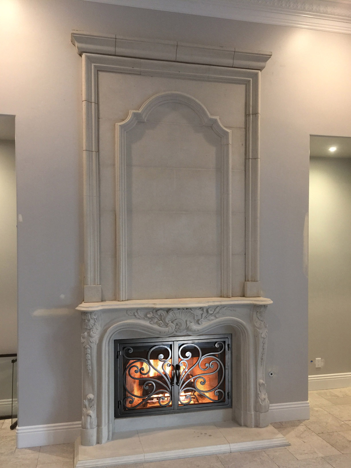 precast surround surrounds cost iron doors ideas mantels fireplace